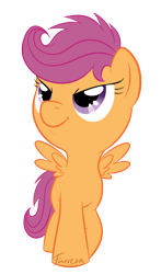 Size: 500x850 | Tagged: safe, artist:furreon, scootaloo, pegasus, pony, cute, cutealoo, female, filly, simple background, solo, transparent background