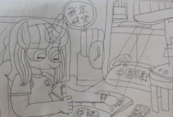 Size: 3162x2133 | Tagged: safe, artist:徐詩珮, oc, oc only, oc:hsu amity, alicorn, anthro, plantigrade anthro, alicorn oc, china, chinese, drawing, horn, implied oc:ej, taiwan, wings