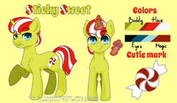 Size: 1500x875   Tagged: safe, artist:thanhvy15599, oc, oc:sticky sweet, pony, unicorn, blue eyes, candy, commission, food, magic, male, reference sheet, simple background, solo, stallion, yellow background