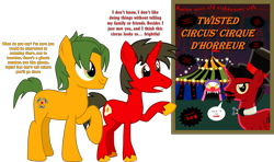 Size: 3527x2088 | Tagged: safe, artist:shadymeadow, oc, oc only, oc:fried egg, oc:scorpion chain, oc:twisted circus, earth pony, pony, unicorn, hat, male, poster, simple background, stallion, teenager, top hat, transparent background