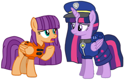 Size: 1412x909 | Tagged: safe, artist:徐詩珮, ginger owlseye, twilight sparkle, alicorn, pony, series:sprglitemplight diary, series:sprglitemplight life jacket days, series:springshadowdrops diary, series:springshadowdrops life jacket days, alternate universe, base used, chase (paw patrol), clothes, cute, equestria girls ponified, female, gingerlight, lesbian, lifejacket, paw patrol, ponified, shipping, simple background, transparent background, twilight sparkle (alicorn)