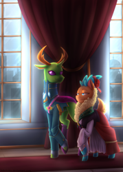Size: 2844x3973 | Tagged: safe, artist:jadekettu, thorax, velvet reindeer, changedling, changeling, deer, equestria at war mod, them's fightin' herds, city, cityscape, crossover, crossover shipping, curtains, king thorax, married couple, shipping, window