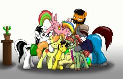Size: 1500x957 | Tagged: safe, artist:appleneedle, artist:cactuscowboydan, artist:candyclumsy, artist:chedx, artist:khaki-cap, artist:nancy-05, artist:princebluemoon3, artist:rainbowtashie, oc, oc only, oc:candy clumsy, oc:khaki-cap, oc:rainbow tashie, alicorn, earth pony, pegasus, pony, unicorn, beard, cactus, child, clothes, colt, commissioner:bigonionbean, facial hair, female, group hug, group photo, hoodie, hug, jean thicc, male, mare, pants, plant, stallion, writer:bigonionbean