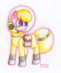 Size: 1773x2140 | Tagged: safe, artist:brilliant-luna, oc, oc only, oc:puppysmiles, pony, fallout equestria, fallout equestria: pink eyes, bag, ear fluff, fanfic art, female, filly, hazmat suit, saddle bag, simple background, smiling, solo, traditional art, white background