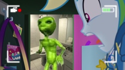 Size: 1280x720 | Tagged: safe, edit, edited screencap, screencap, rainbow dash, alien, do it for the ponygram!, equestria girls, equestria girls series, spoiler:eqg series (season 2), ayy lmao, bathroom, joel, meme, rainbow dash's prank fail, scared, screaming, signal simulator, vargskelethor, vinesauce