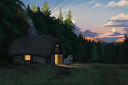 Size: 3000x2000 | Tagged: safe, artist:redruin01, oc, oc:amber dart, pony, airship, blanket, chimney, clearing, cottage, dirt path, forest, forest background, moon, scenery, scenery porn, smoke, solo, sunrise