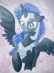 Size: 1280x1707 | Tagged: safe, artist:papersurgery, nightmare moon, pony, unicorn, ethereal mane, female, jewelry, looking down, mare, regalia, solo, spread wings, traditional art, watercolor painting, wings