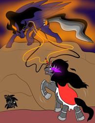 Size: 2826x3640 | Tagged: safe, artist:sapphirus, king sombra, oc, alicorn, unicorn, blackhole, commission, event horizon, magic stealing, male, offspring, parent:king sombra, son, stallion