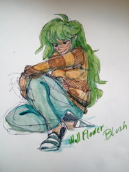 Size: 3120x4160 | Tagged: safe, artist:elisdoominika, wallflower blush, human, equestria girls, clothes, green hair, human coloration, jeans, pants, sitting, smiling, solo, sweater, traditional art, watercolor painting
