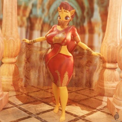 Size: 3840x3840 | Tagged: safe, artist:bckiwi, saffron masala, anthro, plantigrade anthro, unicorn, 3d, barefoot, big breasts, blender, blushing, bracelet, breasts, busty saffron masala, clothes, dress, ear piercing, earring, feet, female, freckles, hairband, horn, jewelry, looking at you, midriff, nail polish, necklace, not sfm, piercing, solo, veil, wide hips