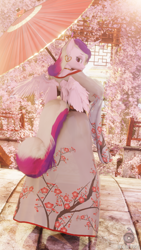 Size: 2160x3840 | Tagged: safe, artist:bckiwi, princess cadance, alicorn, anthro, plantigrade anthro, 3d, big breasts, blender, breasts, bridge, busty princess cadance, cherry blossoms, clothes, dress, ear piercing, earring, female, flower, flower blossom, horn, jewelry, kimono (clothing), lake, looking at you, looking back, necklace, not sfm, piercing, see-through, solo, umbrella, wings