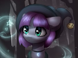 Size: 1800x1337 | Tagged: safe, artist:reterica, maud pie, pony, bust, cute, forest, hat, heart eyes, jewelry, magic, maudabetes, necklace, portrait, scenery, solo, starry eyes, stars, tree, wingding eyes, witch hat