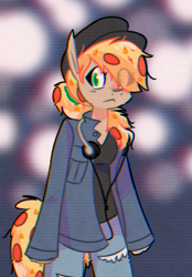 Size: 800x1150 | Tagged: safe, artist:provolonepone, oc, oc only, oc:peetzer, anthro, food pony, original species, pizza pony, clothes, pizza, solo