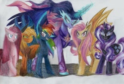Size: 900x612 | Tagged: safe, artist:moonrises, mean applejack, mean fluttershy, mean pinkie pie, mean rainbow dash, mean rarity, mean twilight sparkle, nightmare rarity, alicorn, bat pony, earth pony, pegasus, pony, unicorn, bat ponified, clone, evil, evil grin, evil pie hater dash, eviljack, flutterbat, grin, looking at you, mean six, midnight sparkle, pinkamena diane pie, race swap, simple background, smiling, smiling at you, traditional art, twilight sparkle (alicorn), white background