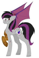 Size: 2524x3772 | Tagged: safe, oc, oc only, bat pony, pony, robot, angry, bat wings, blood, colored, commission, commissions open, cut, cutie mark, flat colors, fullbody, main, robotic arm, simple background, solo, tail, transparent background, wings