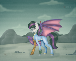 Size: 5000x4000 | Tagged: safe, artist:chazmazda, oc, oc only, bat pony, pony, fallout equestria, bat wings, camera, cloud, error, fallout, fallout shelter, fullbody, glitch, highlights, lighting, lost, low battery, main, mountain, recording, robotic arm, rock, scenery, shade, shading, sky, solo, tail, wasteland, wings
