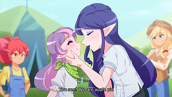 Size: 3000x1687 | Tagged: safe, artist:jonfawkes, apple bloom, applejack, rarity, sweetie belle, elf, human, sisterhooves social, anime, boop, clothes, cute, daaaaaaaaaaaw, dialogue, digital art, elf ears, female, humanized, noseboop, now kiss, scene interpretation, siblings, sisters, subtitles, unicorns as elves