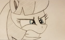 Size: 2048x1271 | Tagged: safe, artist:polar_storm, coco pommel, earth pony, pony, angry, blue eyes, female, furious, mare, monochrome, neo noir, partial color, simple background, solo, traditional art, white background
