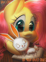 Size: 2128x2840 | Tagged: safe, artist:klooda, angel bunny, discord, fluttershy, pegasus, pony, blushing, detailed, duo focus, eyes closed, lying, nap, pet, pillow, realistic, sleeping, smiling, wooden floor