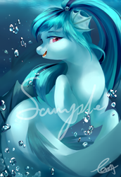 Size: 2708x3937 | Tagged: safe, artist:haidiannotes, sonata dusk, siren, bubble, cute, female, high res, open mouth, profile, solo, sonatabetes, underwater