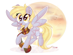 Size: 1024x768 | Tagged: safe, artist:rainartist312, derpy hooves, pegasus, pony, :p, abstract background, clothes, cute, derpabetes, deviantart watermark, ear fluff, female, flying, implied doctor whooves, mare, obtrusive watermark, reflection, scarf, simple background, sky, solo, spread wings, tongue out, transparent background, watermark, wings
