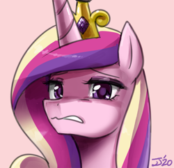 Size: 600x579 | Tagged: safe, artist:johnjoseco, princess cadance, alicorn, pony, bust, cadance is not amused, cringing, facial expressions, female, looking at you, portrait, solo, unamused