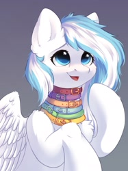 Size: 1535x2048   Tagged: safe, artist:alphadesu, oc, oc only, oc:contrail skies, pegasus, pony, chest fluff, collar, female, mare, multiple collars