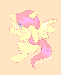 Size: 584x720   Tagged: safe, artist:dongoverlord, fluttershy, pegasus, pony, covering face, cute, female, hair over one eye, hiding behind mane, looking at you, mare, missing cutie mark, orange background, shyabetes, simple background, solo