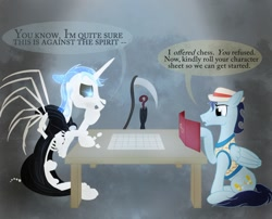 Size: 1280x1035 | Tagged: safe, artist:sixes&sevens, alicorn, pegasus, pony, skeleton pony, bone, bubble, clothes, cutie mark, dice, digital art, discworld, dm screen, doctor who, dungeons and dragons, duo, grim reaper, hat, horn, male, not soarin, pen and paper rpg, ponified, rpg, scythe, seventh doctor, skeleton, speech bubble, stallion, table, tail, text, umbrella, wings