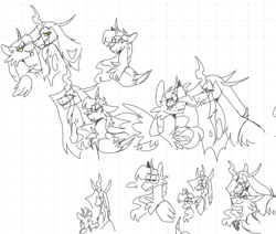 Size: 1310x1111 | Tagged: safe, artist:rockin_candies, queen chrysalis, twilight sparkle, alicorn, changeling, changeling queen, pony, ..., blushing, curved horn, drool, duo, female, flustered, forked tongue, graph paper, horn, hypnosis, lesbian, licking, shipping, simple background, sketch, speech bubble, spread wings, swirly eyes, teeth, tongue out, twilight sparkle (alicorn), twisalis, white background, wings