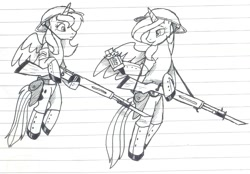 Size: 1079x752 | Tagged: safe, artist:wolfjedisamuel, princess celestia, princess luna, alicorn, pony, brodie helmet, chocolate, clothes, duo, female, flying, food, hat, helmet, horn, lined paper, mare, monochrome, tail, traditional art, uniform, weapon, wings, world war i