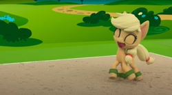 Size: 1676x932 | Tagged: safe, screencap, applejack, my little pony: pony life, volleyball game between rainbow dash and applejack, sand, stop motion