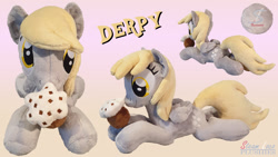 Size: 1920x1080 | Tagged: safe, artist:steam-loco, derpy hooves, ditzy doo, original species, pegasus, plush pony, embroidery, food, irl, magnet, muffin, photo, plushie, solo