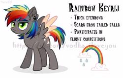 Size: 2560x1638   Tagged: safe, artist:keyrijgg, oc, pony, adoptable, auction, donut steel, not rainbow dash, rainbow, refetence, sale, simple background, watermark, white background
