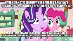 Size: 888x499 | Tagged: safe, edit, edited screencap, screencap, pinkie pie, starlight glimmer, earth pony, pony, unicorn, no second prances, caption, cute, duo, female, glimmy, image macro, mare, op is a duck, op is trying to start shit, text