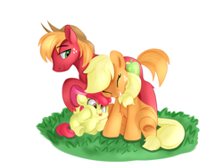Size: 4000x3000 | Tagged: safe, artist:drtuo4, artist:jbond, color edit, edit, apple bloom, applejack, big macintosh, earth pony, pony, accessory swap, adorabloom, apple siblings, apple sisters, brother and sister, chest fluff, colored, coloring, cute, family, female, high res, jackabetes, laughing, macabetes, male, painting, siblings, silly, simple background, sisters, smiling, squishy cheeks, tongue out, white background