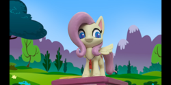 Size: 2160x1080   Tagged: safe, screencap, fluttershy, pegasus, pony, my little pony: pony life, volleyball game between rainbow dash and applejack, cute, looking at you, rainbow dashs coaching whistle, referee, referee fluttershy, shyabetes, smiling, solo, stop motion, whistle, whistle necklace