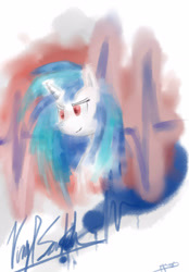 Size: 2675x3834 | Tagged: safe, artist:peperoger, dj pon-3, vinyl scratch, pony, unicorn, abstract background, bust, female, mare, solo