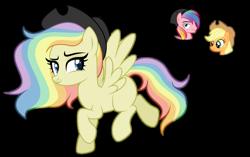 Size: 1024x645 | Tagged: safe, artist:sapphiretwinkle, applejack, oc, oc:prism splash, pegasus, pony, cowboy hat, female, hat, male, mare, multicolored hair, offspring, parent:applejack, parent:oc:prism splash, parents:canon x oc, rainbow hair, simple background, stallion, transparent background