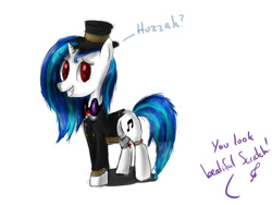 Size: 1572x1184 | Tagged: safe, artist:peperoger, dj pon-3, vinyl scratch, pony, unicorn, clothes, female, mare, solo, suit
