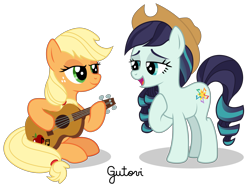Size: 3334x2501 | Tagged: safe, artist:gutovi, applejack, coloratura, earth pony, pony, applejack's hat, cowboy hat, female, guitar, hat, lesbian, mare, missing accessory, musical instrument, rara, rarajack, shipping, simple background, singing, transparent background