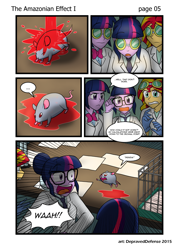 Size: 1000x1396 | Tagged: safe, artist:advanceddefense, artist:bluecarnationstudios, sci-twi, sunset shimmer, twilight sparkle, mouse, comic:the amazonian effect, equestria girls, ..., chemicals, clothes, comic, goggles, lab coat, twolight