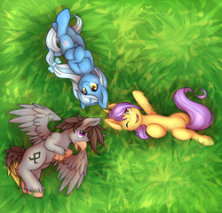 Size: 2700x2591 | Tagged: safe, artist:pingwinowa, oc, oc only, oc:glace, oc:luxor, oc:tulipan, classical hippogriff, hippogriff, unicorn, bow, cute, freckles, grass, hair bow, luxorian trio, lying down, one eye closed, smiling