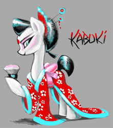 Size: 708x800 | Tagged: safe, artist:kabukihomewood, oc, oc only, oc:kabuki, earth pony, pony, brush, chopsticks in hair, clothes, female, gray background, hair bun, hair ornament, kabuki, kimono (clothing), looking back, makeup, mare, raised hoof, simple background, smiling, solo