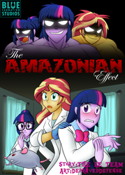 Size: 1697x2367   Tagged: safe, artist:advanceddefense, artist:bluecarnationstudios, sci-twi, sunset shimmer, twilight sparkle, mouse, comic:the amazonian effect, equestria girls, amazon, amazonian, blushing, buff, clothes, cover, death by snu snu, glasses, gloves, glowing eyes, lab coat, latex, latex gloves, muscles, open mouth, scientist, sunset lifter, twilight muscle, twolight