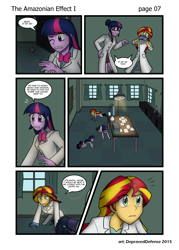 Size: 1000x1395 | Tagged: safe, artist:advanceddefense, artist:bluecarnationstudios, sci-twi, sunset shimmer, twilight sparkle, mouse, comic:the amazonian effect, equestria girls, clothes, comic, lab coat, patreon, searching