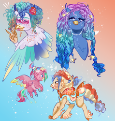 Size: 1428x1500 | Tagged: safe, artist:bunnari, oc, oc:bubble piñata, oc:jelly fishbowl, oc:lagoon lemonade, oc:polaris party, classical hippogriff, hippogriff, hybrid, female, fledgeling, interspecies offspring, magical lesbian spawn, male, offspring, parent:pinkie pie, parent:princess skystar, parents:skypie, shutter shades