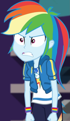 Size: 529x910 | Tagged: safe, screencap, rainbow dash, equestria girls, equestria girls series, holidays unwrapped, spoiler:eqg series (season 2), angry, canterlot mall, clothes, cloud, cropped, cute, dashabetes, dashing through the mall, female, fist, geode of super speed, hoodie, jacket, jewelry, magical geodes, merchandise, necklace, pants, pockets, rainbow, shirt, short sleeves, store, t-shirt, talking, thunderbolt, unamused, wristband