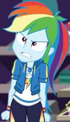 Size: 512x895 | Tagged: safe, screencap, rainbow dash, equestria girls, equestria girls series, holidays unwrapped, spoiler:eqg series (season 2), angry, canterlot mall, clothes, cloud, cropped, cute, dashabetes, dashing through the mall, female, fist, hoodie, jacket, jewelry, merchandise, necklace, pants, pockets, rainbow, shirt, short sleeves, solo, store, t-shirt, talking, thunderbolt, unamused, wristband