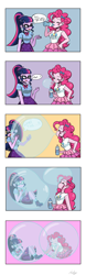 Size: 1080x3460   Tagged: safe, artist:artsypuppet, pinkie pie, sci-twi, twilight sparkle, equestria girls, blowing bubbles, bubble, bubble solution, comic, eyes closed, facepalm, female, floating, grin, in bubble, pinkie being pinkie, requested art, smiling, soap bubble, trapped, twilight is not amused, unamused
